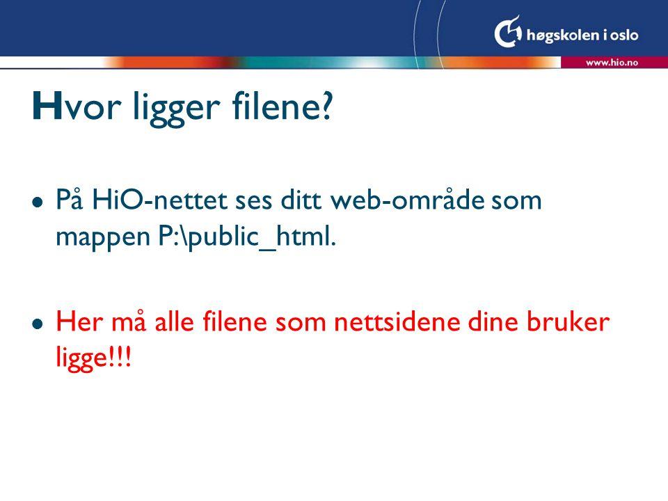 Hvor ligger filene. l På HiO-nettet ses ditt web-område som mappen P:\public_html.