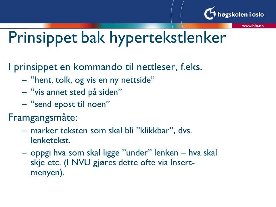 Regler for filnavn Filnavn tolkes av nettlesere på mange språk: Bruk aldri æ, ø, å, mellomrom, spesialtegn i filnavnet.