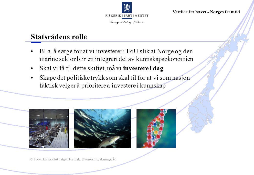 Norwegian Ministry of Fisheries Verdier fra havet - Norges framtid Utfordringer for Tromsø-miljøene Må være synlige på de internasjonale arenaene Kunnskapssektoren i Tromsø må være bevisst sitt internasjonale samarbeid: – Tar dere ledertrøyen i EUs rammeprogram .