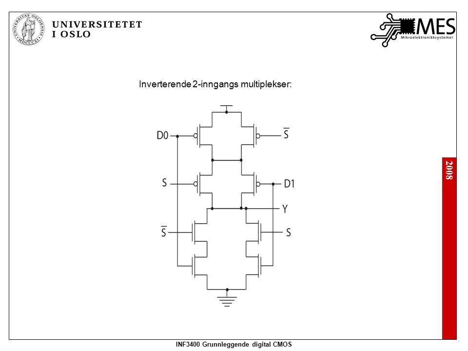 2008 INF3400 Grunnleggende digital CMOS Inverterende 2-inngangs multiplekser: