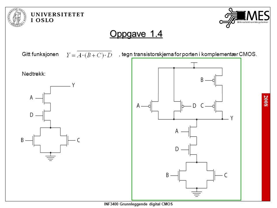 2008 INF3400 Grunnleggende digital CMOS Oppgave 1.4 Gitt funksjonen, tegn transistorskjema for porten i komplementær CMOS. Nedtrekk: