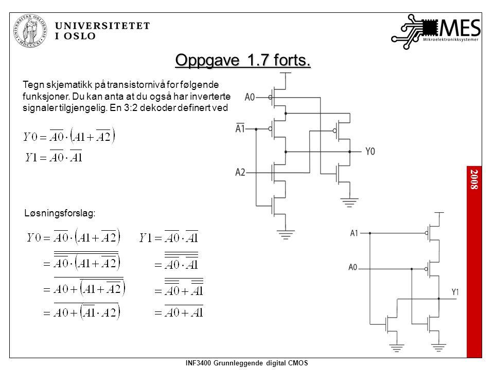 2008 INF3400 Grunnleggende digital CMOS Tegn skjematikk på transistornivå for følgende funksjoner.