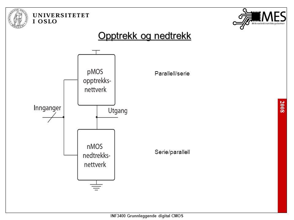 2008 INF3400 Grunnleggende digital CMOS Opptrekk og nedtrekk Parallell/serie Serie/parallell