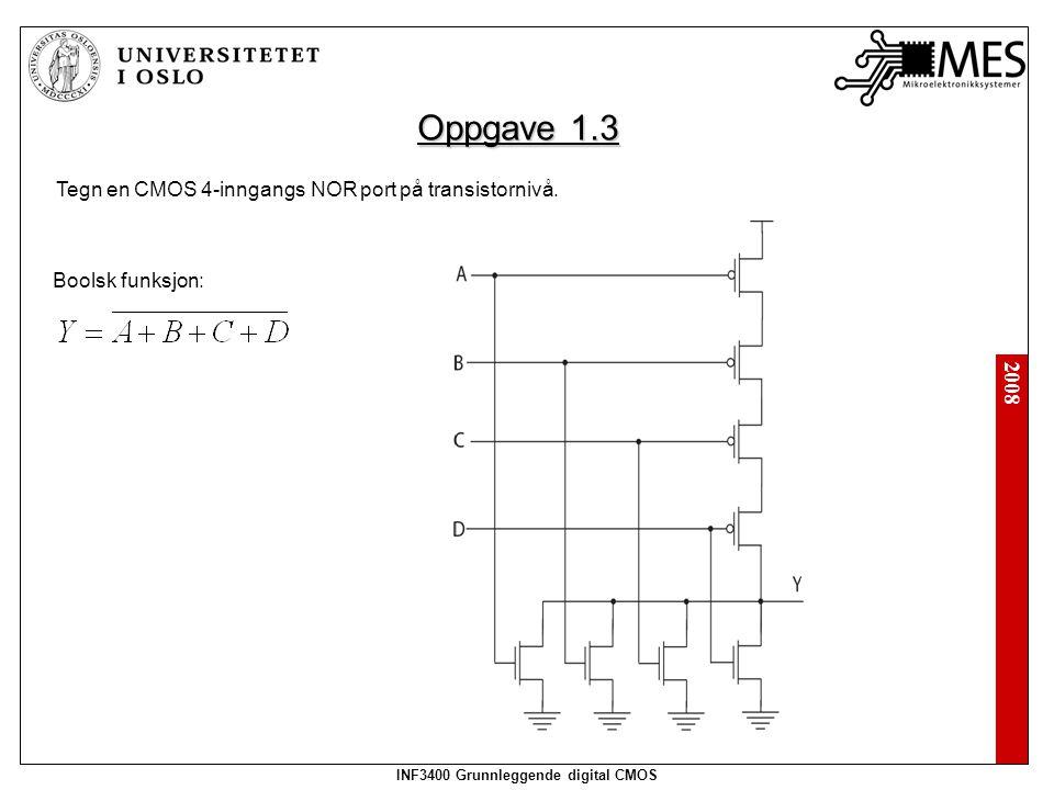 2008 INF3400 Grunnleggende digital CMOS Oppgave 1.3 Tegn en CMOS 4-inngangs NOR port på transistornivå.