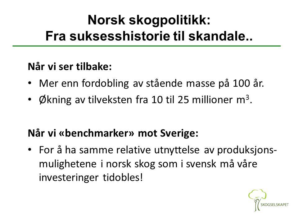 Norsk skogpolitikk: Fra suksesshistorie til skandale.. Når vi ser tilbake: Mer enn fordobling av stående masse på 100 år. Økning av tilveksten fra 10