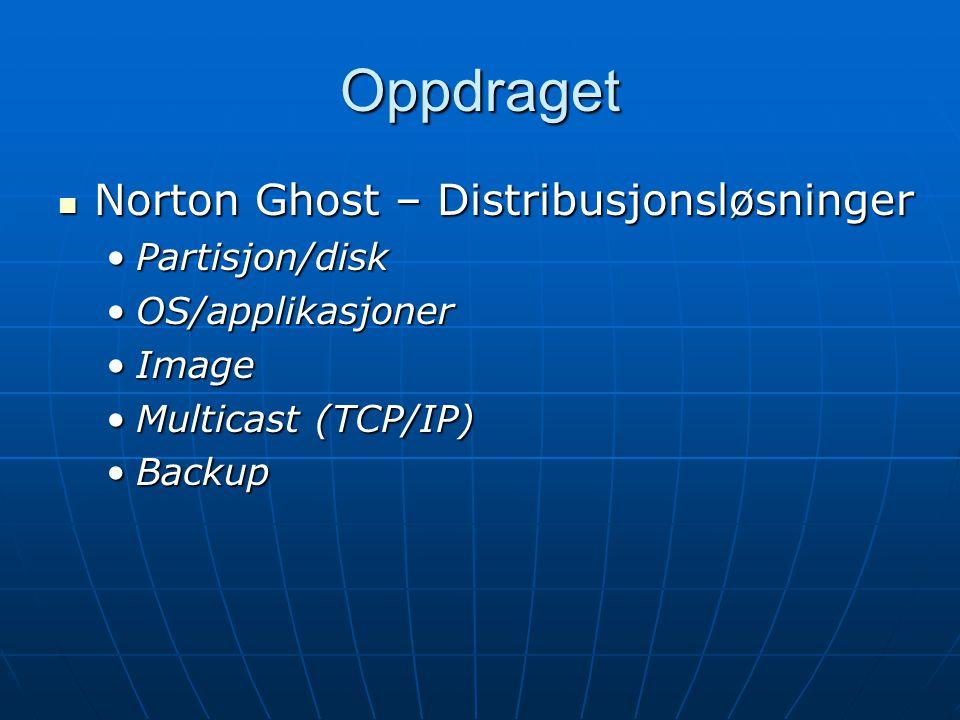 Oppdraget Norton Ghost – Distribusjonsløsninger Norton Ghost – Distribusjonsløsninger Partisjon/diskPartisjon/disk OS/applikasjonerOS/applikasjoner ImageImage Multicast (TCP/IP)Multicast (TCP/IP) BackupBackup