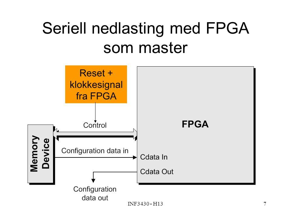 INF3430 - H137 Seriell nedlasting med FPGA som master Reset + klokkesignal fra FPGA