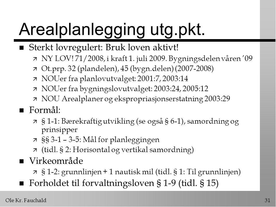 Ole Kr.Fauchald31 Arealplanlegging utg.pkt. n Sterkt lovregulert: Bruk loven aktivt.