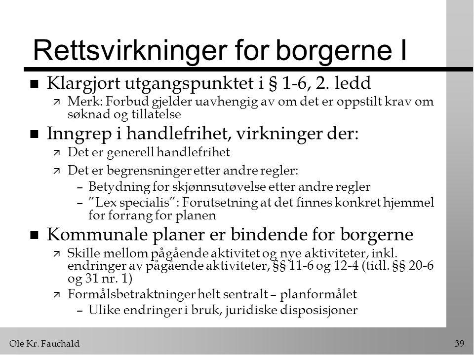 Ole Kr.Fauchald39 Rettsvirkninger for borgerne I n Klargjort utgangspunktet i § 1-6, 2.