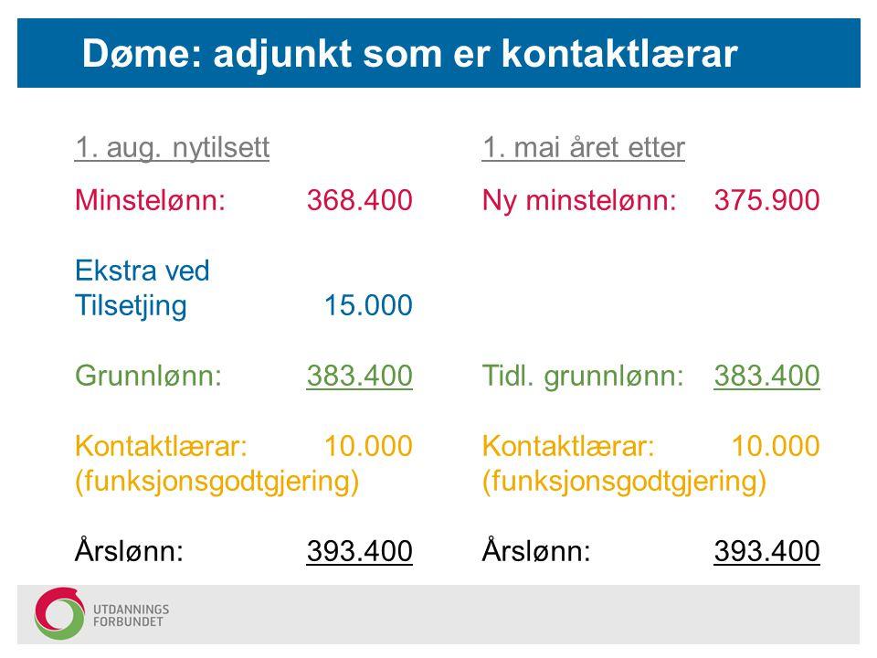 Døme: adjunkt som er kontaktlærar 1. aug. nytilsett Minstelønn: 368.400 Ekstra ved Tilsetjing 15.000 Grunnlønn:383.400 Kontaktlærar: 10.000 (funksjons