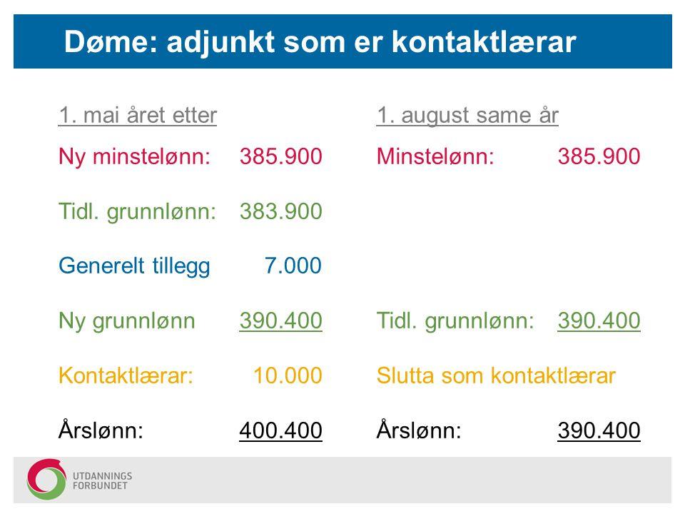 Døme: adjunkt som er kontaktlærar 1. mai året etter Ny minstelønn: 385.900 Tidl. grunnlønn:383.900 Generelt tillegg 7.000 Ny grunnlønn390.400 Kontaktl