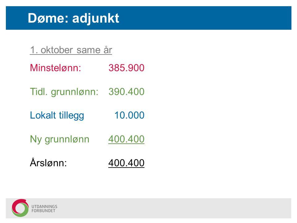 Døme: adjunkt 1. oktober same år Minstelønn: 385.900 Tidl. grunnlønn: 390.400 Lokalt tillegg 10.000 Ny grunnlønn400.400 Årslønn:400.400
