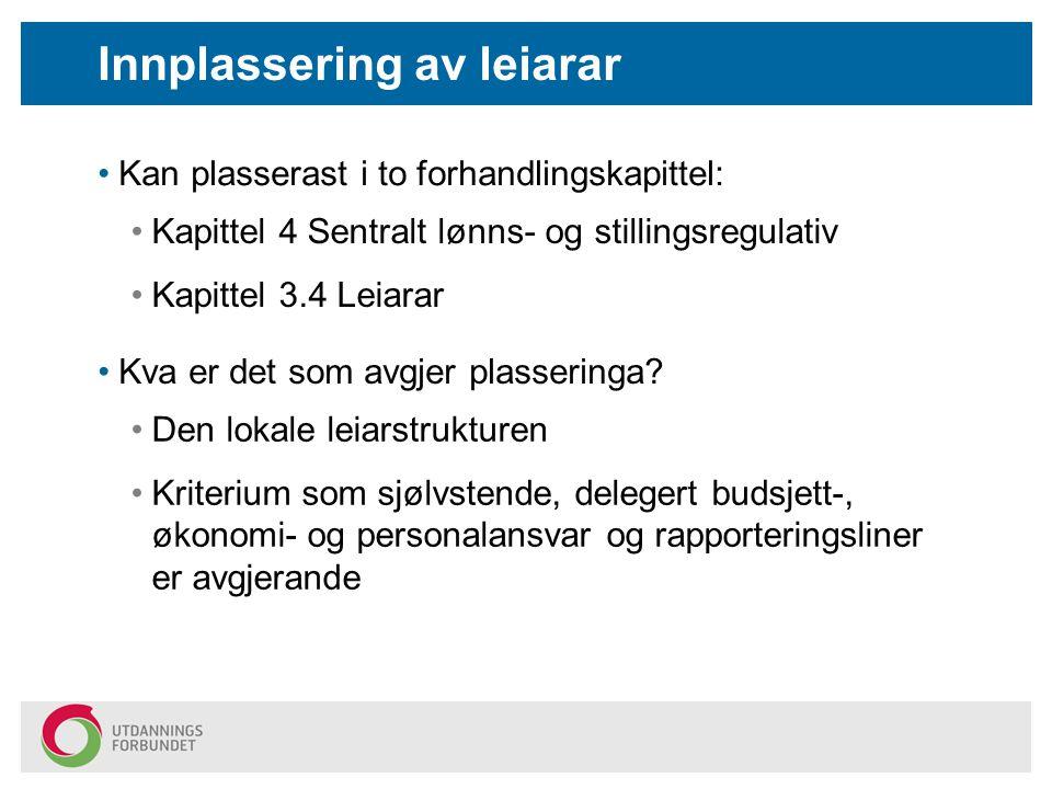 Innplassering av leiarar Kan plasserast i to forhandlingskapittel: Kapittel 4 Sentralt lønns- og stillingsregulativ Kapittel 3.4 Leiarar Kva er det som avgjer plasseringa.