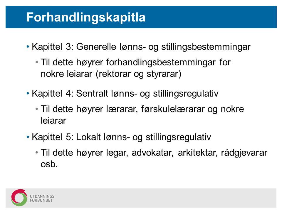 Forhandlingskapitla Kapittel 3: Generelle lønns- og stillingsbestemmingar Til dette høyrer forhandlingsbestemmingar for nokre leiarar (rektorar og sty