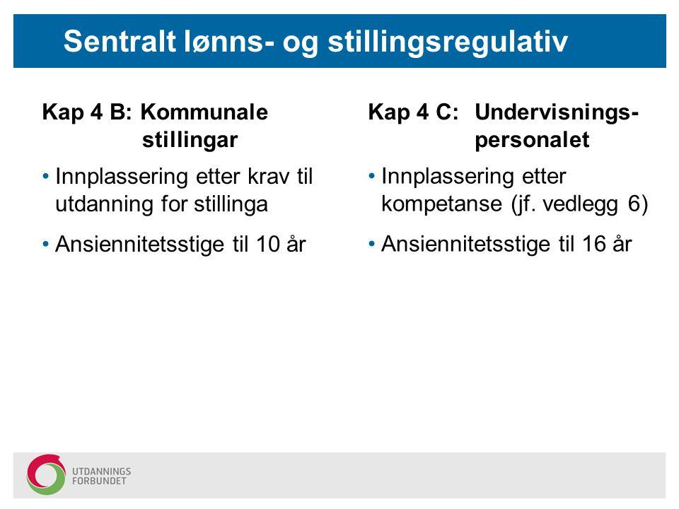 Sentralt lønns- og stillingsregulativ Kap 4 B: Kommunale stillingar Kap 4 C: Undervisnings- personalet Innplassering etter kompetanse (jf. vedlegg 6)