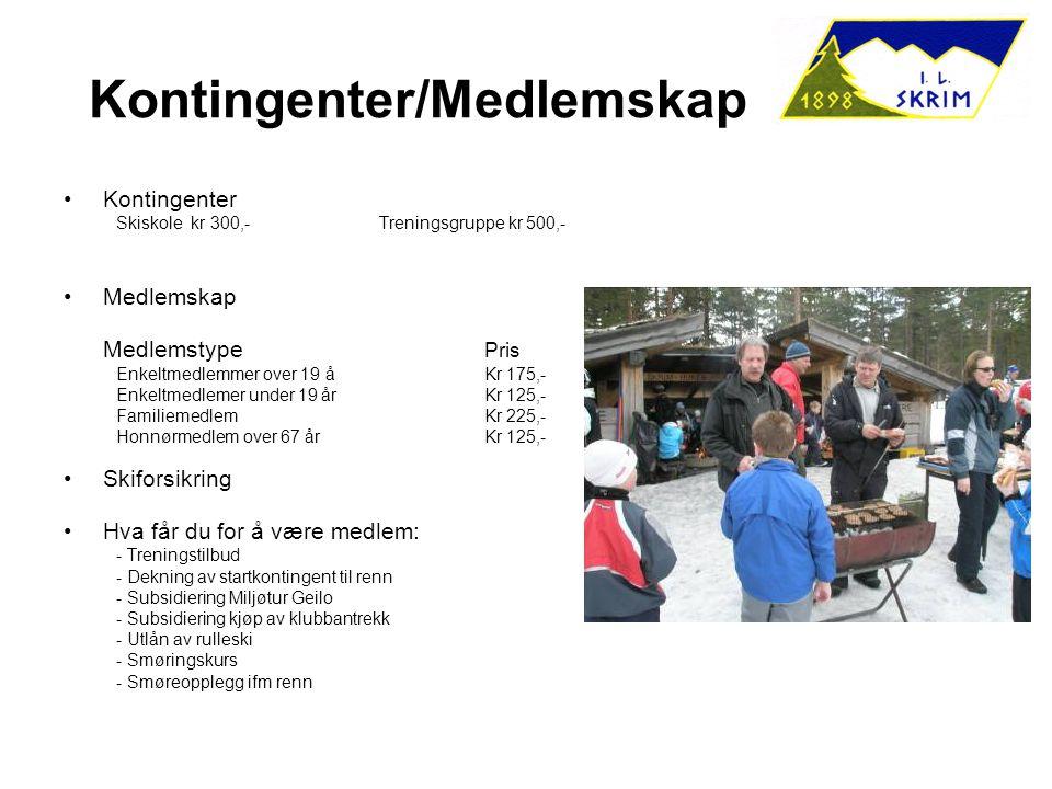 Kontingenter/Medlemskap Kontingenter Skiskole kr 300,-Treningsgruppe kr 500,- Medlemskap Medlemstype Pris Enkeltmedlemmer over 19 åKr 175,- Enkeltmedl