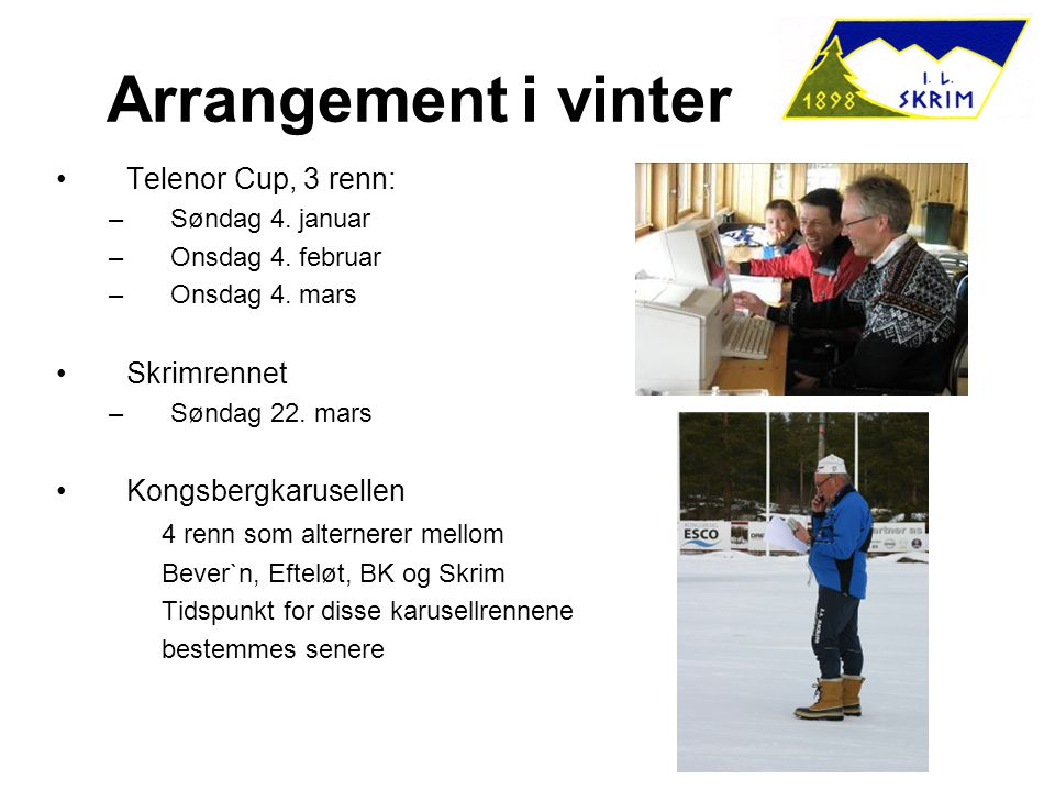 Arrangement i vinter Telenor Cup, 3 renn: –Søndag 4.