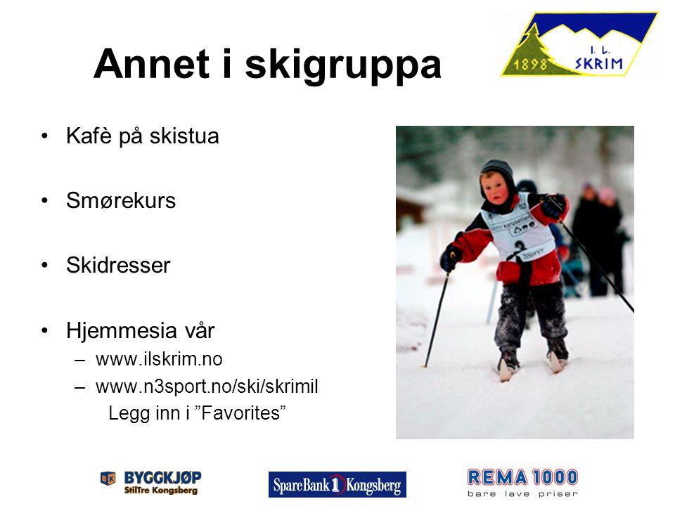 """Annet i skigruppa Kafè på skistua Smørekurs Skidresser Hjemmesia vår –www.ilskrim.no –www.n3sport.no/ski/skrimil Legg inn i """"Favorites"""""""