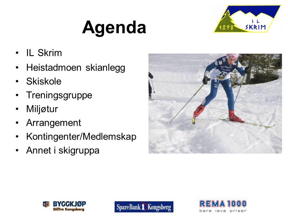 Agenda IL Skrim Heistadmoen skianlegg Skiskole Treningsgruppe Miljøtur Arrangement Kontingenter/Medlemskap Annet i skigruppa