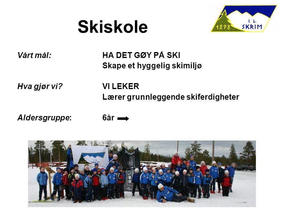 Skiskole Vårt mål:HA DET GØY PÅ SKI Skape et hyggelig skimiljø Hva gjør vi?VI LEKER Lærer grunnleggende skiferdigheter Aldersgruppe:6år