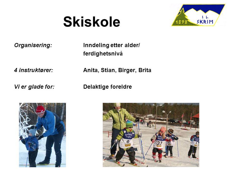 Skiskole Organisering:Inndeling etter alder/ ferdighetsnivå 4 instruktører:Anita, Stian, Birger, Brita Vi er glade for:Delaktige foreldre