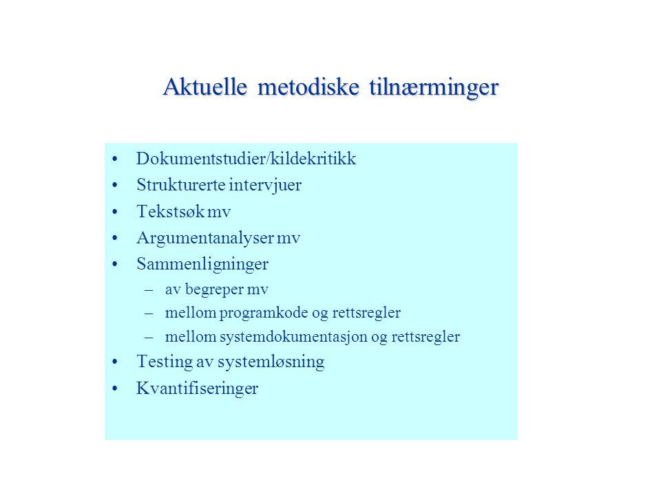 Aktuelle metodiske tilnærminger Dokumentstudier/kildekritikk Strukturerte intervjuer Tekstsøk mv Argumentanalyser mv Sammenligninger –av begreper mv –mellom programkode og rettsregler –mellom systemdokumentasjon og rettsregler Testing av systemløsning Kvantifiseringer