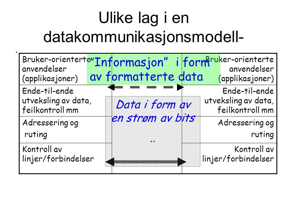 Ulike lag i en datakommunikasjonsmodell-.