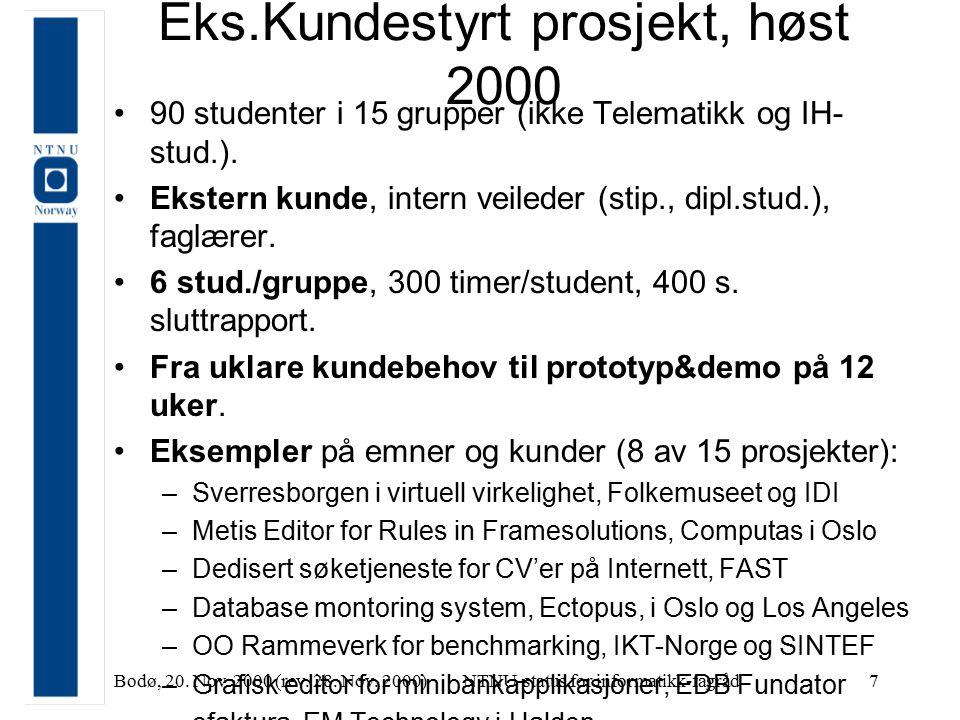 Bodø, 20. Nov. 2000 (rev. 28. Nov. 2000)NTNU-status for informatikk-fagråd7 Eks.Kundestyrt prosjekt, høst 2000 90 studenter i 15 grupper (ikke Telemat