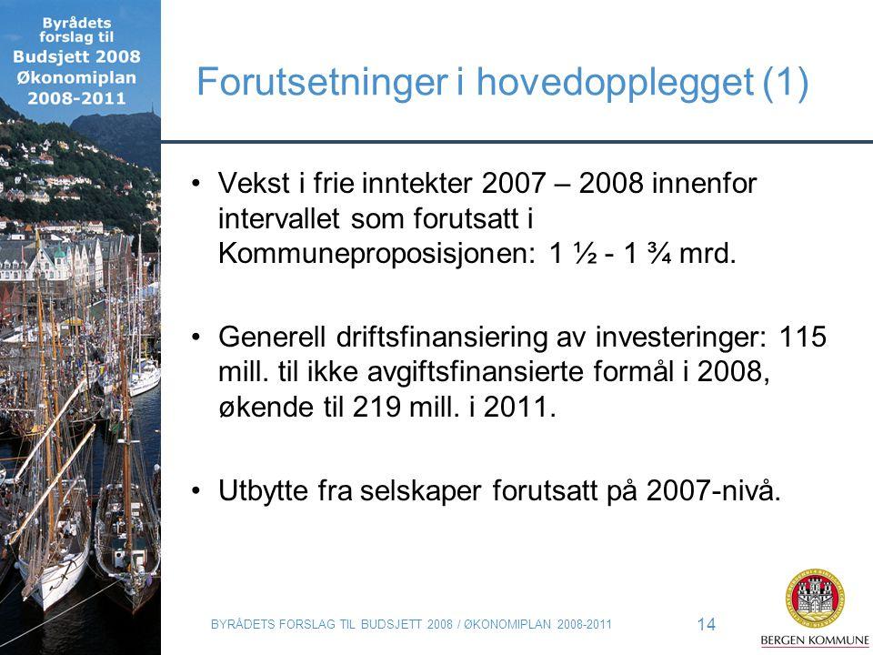 BYRÅDETS FORSLAG TIL BUDSJETT 2008 / ØKONOMIPLAN 2008-2011 14 Forutsetninger i hovedopplegget (1) Vekst i frie inntekter 2007 – 2008 innenfor interval