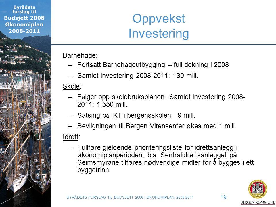 BYRÅDETS FORSLAG TIL BUDSJETT 2008 / ØKONOMIPLAN 2008-2011 19 Oppvekst Investering Barnehage: –Fortsatt Barnehageutbygging – full dekning i 2008 –Saml