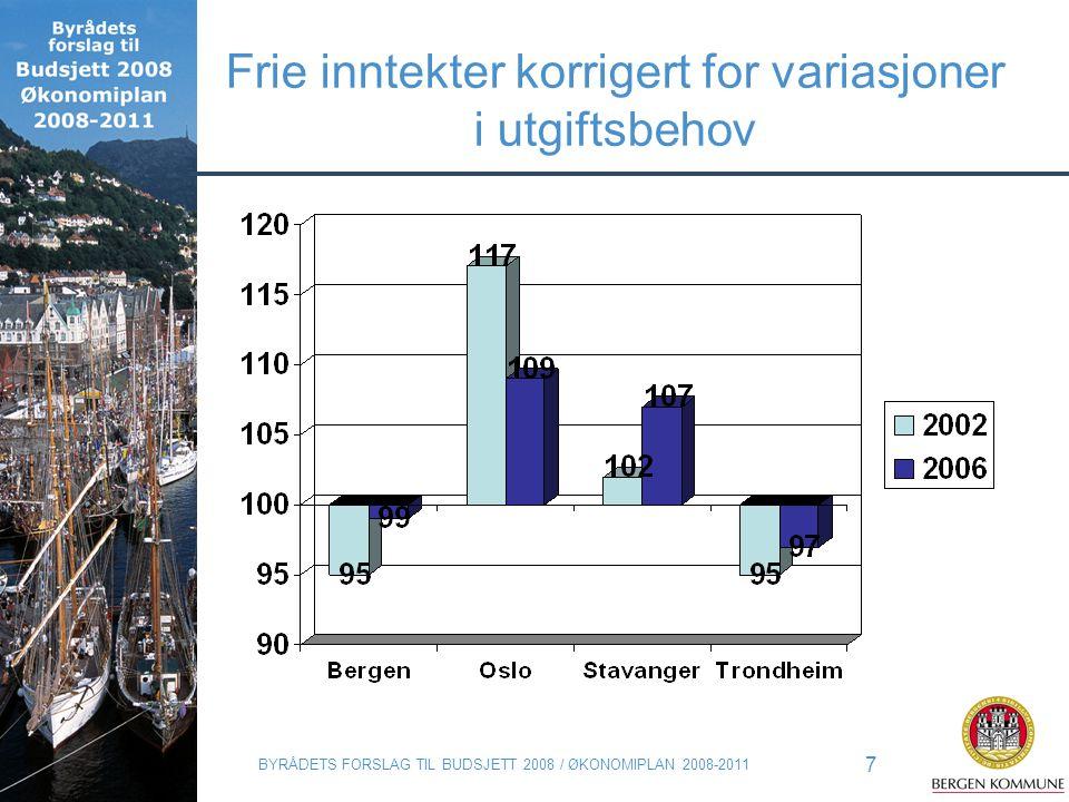 BYRÅDETS FORSLAG TIL BUDSJETT 2008 / ØKONOMIPLAN 2008-2011 7 Frie inntekter korrigert for variasjoner i utgiftsbehov