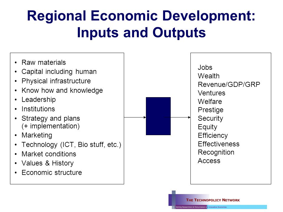 Regional Economic Development: From inputs to outputs.