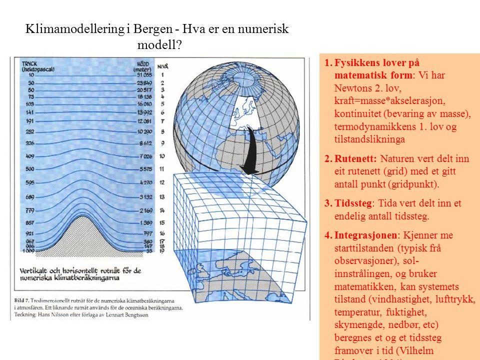 Klimamodellering i Bergen - Hva er en numerisk modell? 1.Fysikkens lover på matematisk form: Vi har Newtons 2. lov, kraft=masse*akselerasjon, kontinui