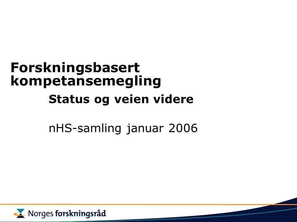 Forskningsbasert kompetansemegling Status og veien videre nHS-samling januar 2006