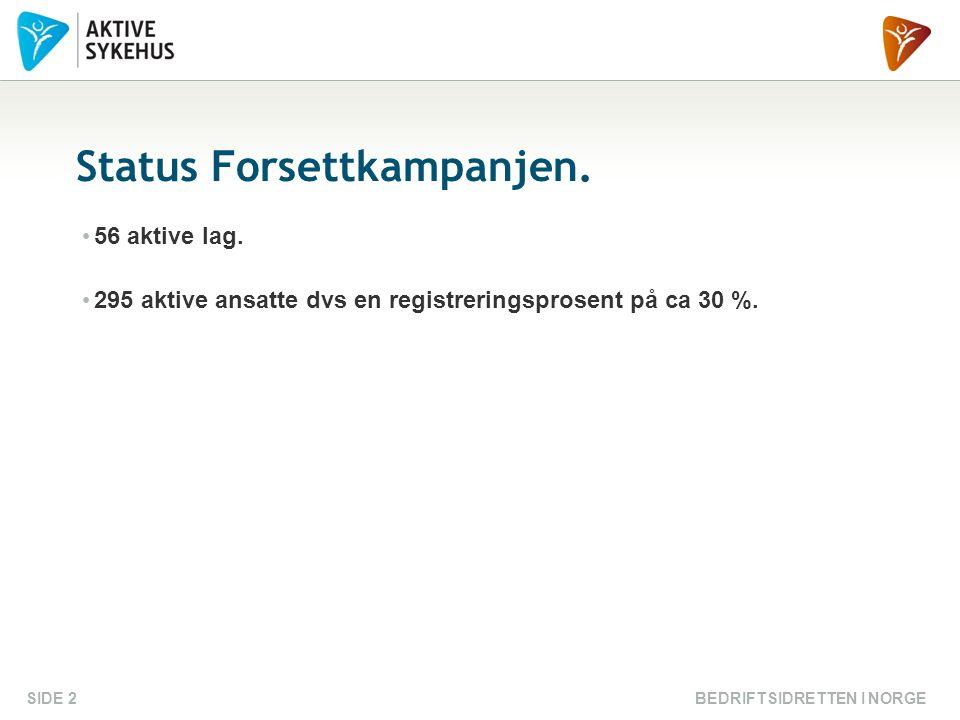 BEDRIFTSIDRETTEN I NORGESIDE 2 Status Forsettkampanjen.