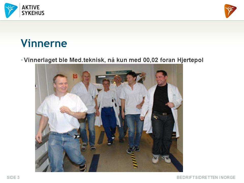 BEDRIFTSIDRETTEN I NORGESIDE 3 Vinnerne Vinnerlaget ble Med.teknisk, nå kun med 00,02 foran Hjertepol