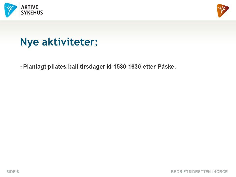 BEDRIFTSIDRETTEN I NORGESIDE 8 Nye aktiviteter: Planlagt pilates ball tirsdager kl 1530-1630 etter Påske.