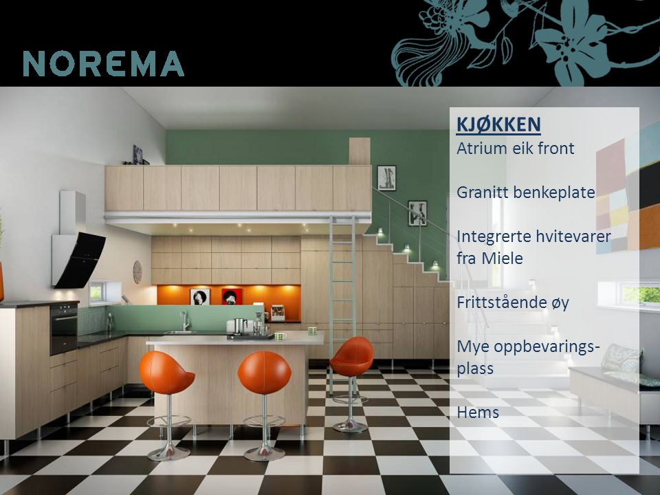 KJØKKEN Atrium eik front Granitt benkeplate Integrerte hvitevarer fra Miele Frittstående øy Mye oppbevarings- plass Hems