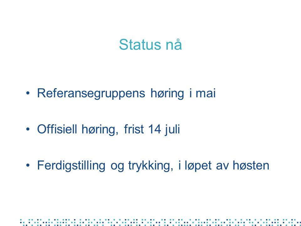 Status nå Referansegruppens høring i mai Offisiell høring, frist 14 juli Ferdigstilling og trykking, i løpet av høsten
