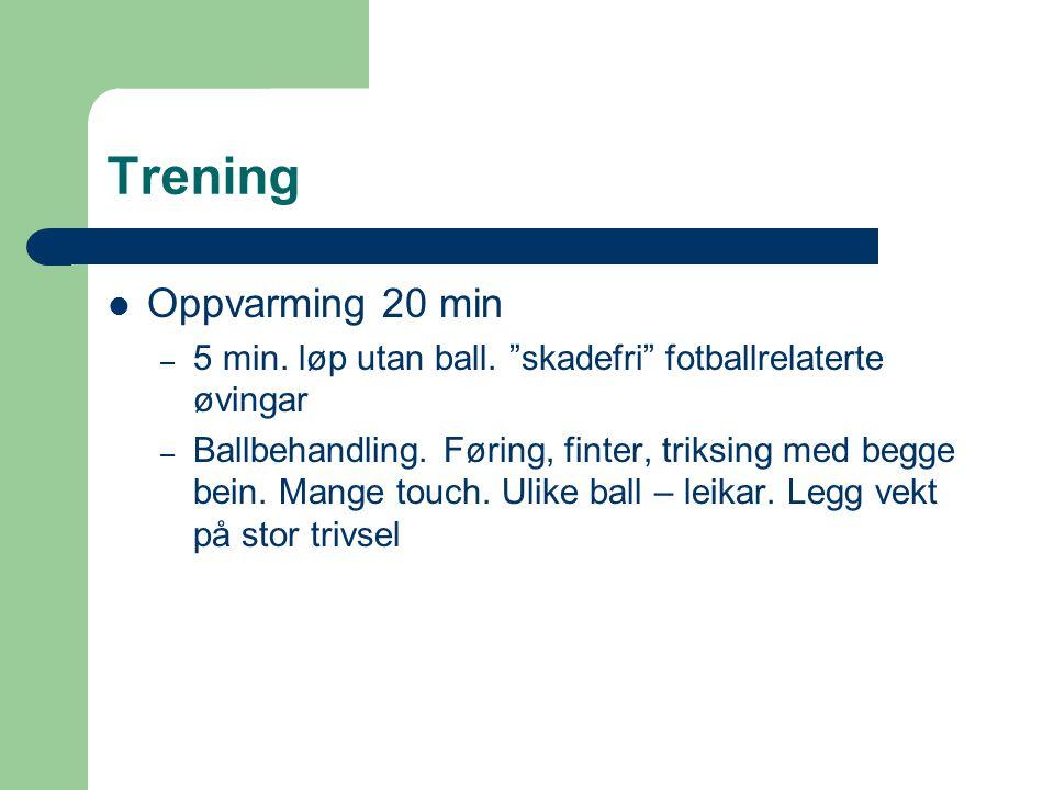 """Trening Oppvarming 20 min – 5 min. løp utan ball. """"skadefri"""" fotballrelaterte øvingar – Ballbehandling. Føring, finter, triksing med begge bein. Mange"""