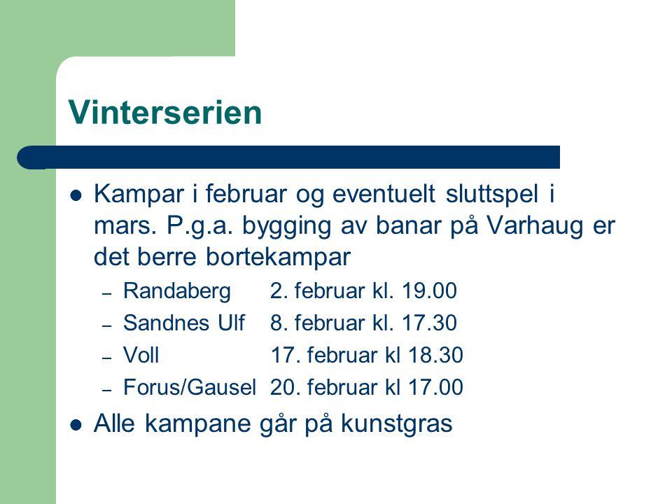 Vinterserien Kampar i februar og eventuelt sluttspel i mars. P.g.a. bygging av banar på Varhaug er det berre bortekampar – Randaberg 2. februar kl. 19