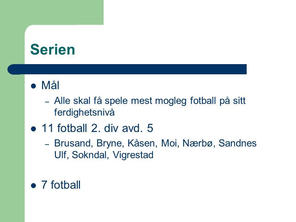 Serien Mål – Alle skal få spele mest mogleg fotball på sitt ferdighetsnivå 11 fotball 2. div avd. 5 – Brusand, Bryne, Kåsen, Moi, Nærbø, Sandnes Ulf,