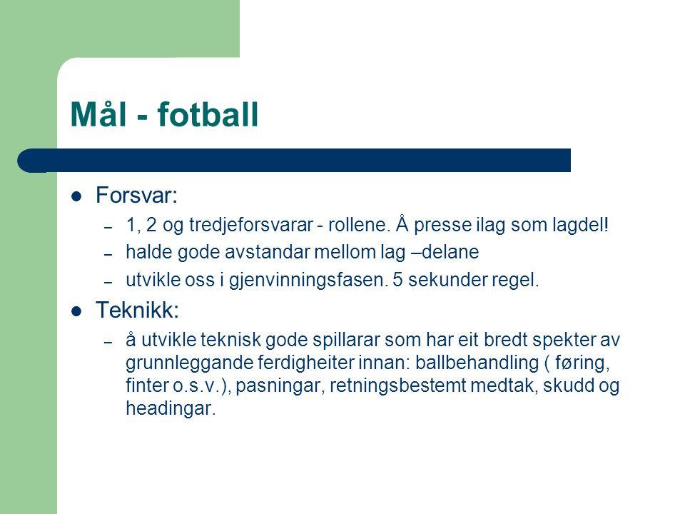 Mål - fotball Forsvar: – 1, 2 og tredjeforsvarar - rollene. Å presse ilag som lagdel! – halde gode avstandar mellom lag –delane – utvikle oss i gjenvi