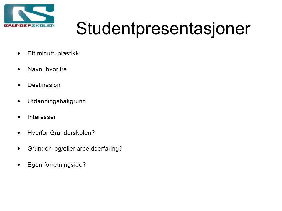 Studentpresentasjoner Ett minutt, plastikk Navn, hvor fra Destinasjon Utdanningsbakgrunn Interesser Hvorfor Gründerskolen.