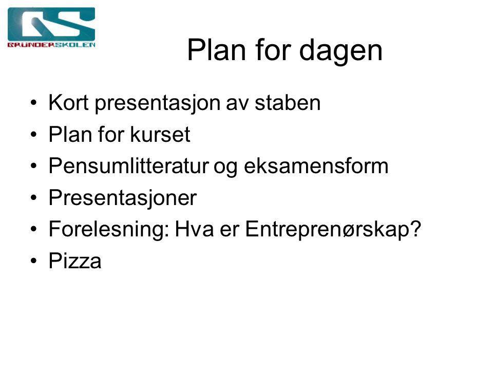 Plan for dagen Kort presentasjon av staben Plan for kurset Pensumlitteratur og eksamensform Presentasjoner Forelesning: Hva er Entreprenørskap.