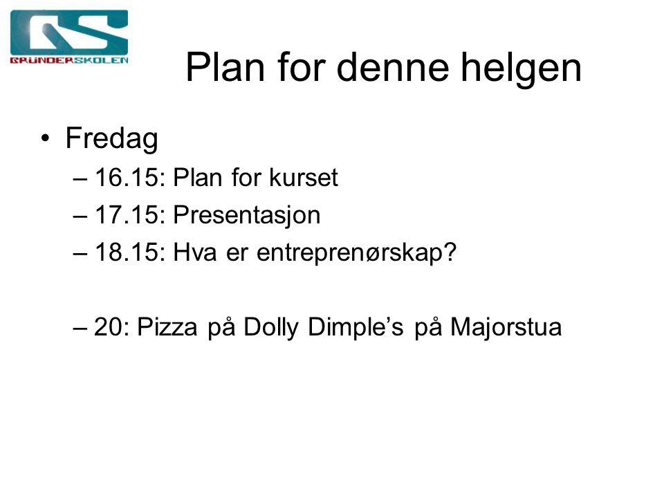 Plan for denne helgen Fredag –16.15: Plan for kurset –17.15: Presentasjon –18.15: Hva er entreprenørskap? –20: Pizza på Dolly Dimple's på Majorstua