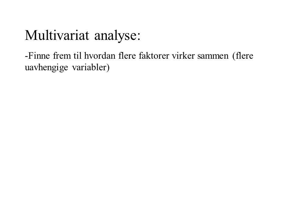 Multivariat analyse: -Finne frem til hvordan flere faktorer virker sammen (flere uavhengige variabler)