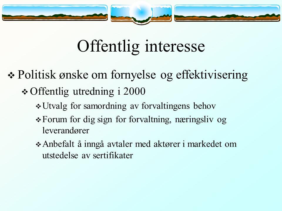 Offentlig interesse  Politisk ønske om fornyelse og effektivisering  Offentlig utredning i 2000  Utvalg for samordning av forvaltingens behov  For
