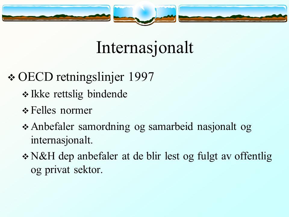 Internasjonalt  OECD retningslinjer 1997  Ikke rettslig bindende  Felles normer  Anbefaler samordning og samarbeid nasjonalt og internasjonalt. 
