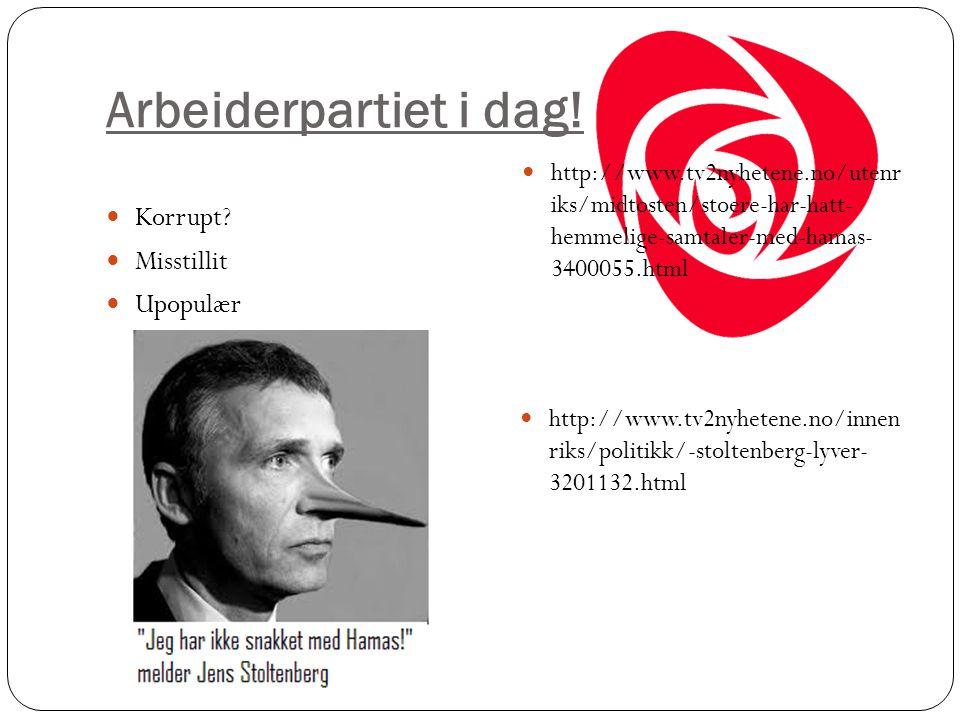 Arbeiderpartiet i dag! Korrupt? Misstillit Upopulær http://www.tv2nyhetene.no/utenr iks/midtosten/stoere-har-hatt- hemmelige-samtaler-med-hamas- 34000